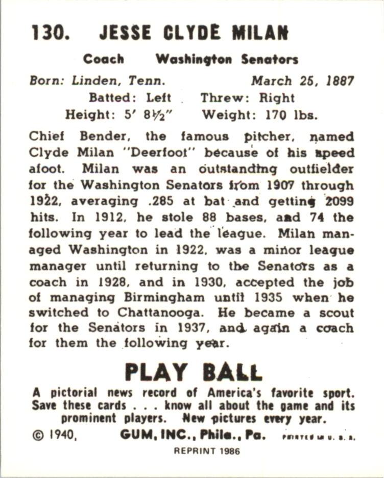 1940 Play Ball Reprints #130 Clyde Milan back image