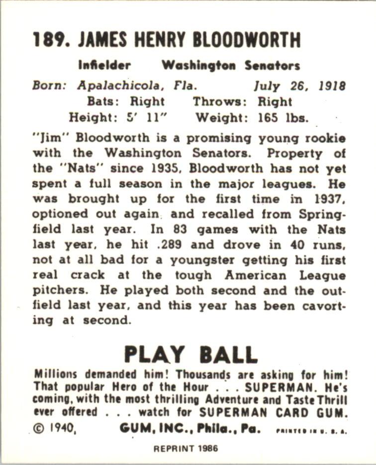 1940 Play Ball Reprints #189 Jim Bloodworth back image