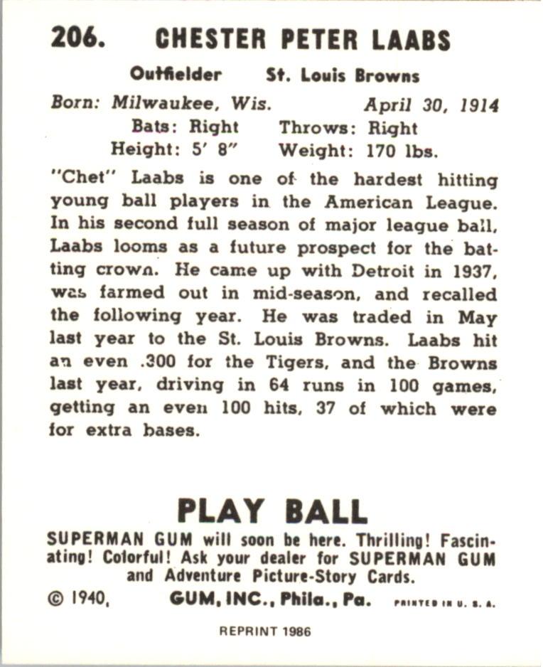1940 Play Ball Reprints #206 Chet Laabs back image
