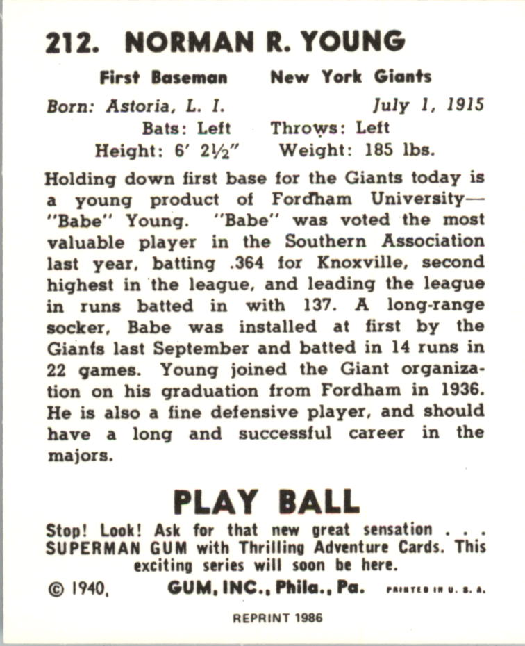 1940 Play Ball Reprints #212 Babe Young back image