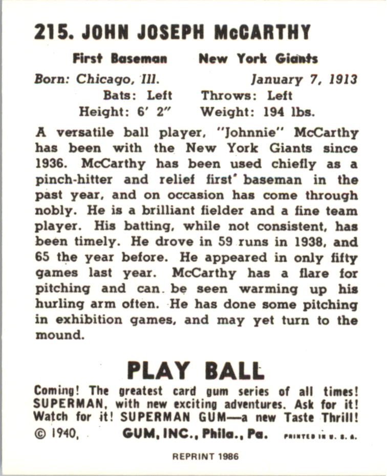 1940 Play Ball Reprints #215 Johnnie McCarthy back image