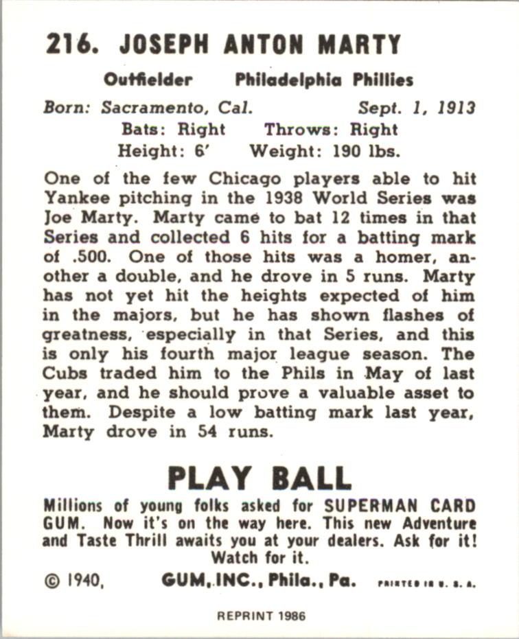 1940 Play Ball Reprints #216 Joe Marty back image