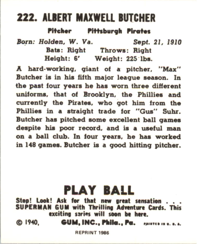 1940 Play Ball Reprints #222 Max Butcher back image