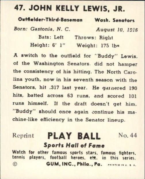 1941 Play Ball Reprints #47 Buddy Lewis back image