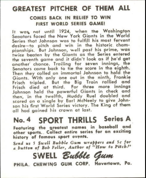 1948 Swell Sport Thrills Reprints #4 Greatest Pitcher of/Them All:/Walter Johnson back image