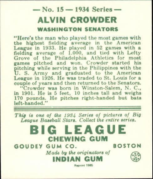 1934 Goudey '85 Reprints #15 Alvin Crowder back image