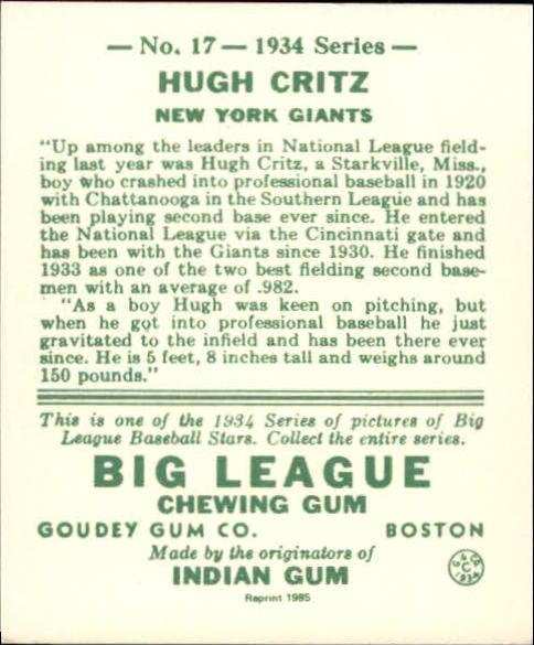 1934 Goudey '85 Reprints #17 Hugh Critz back image