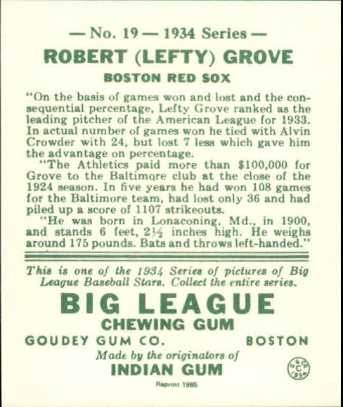 1934 Goudey '85 Reprints #19 Lefty Grove back image
