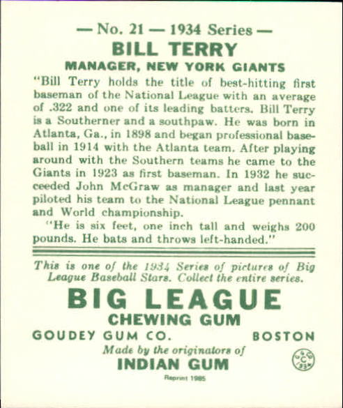 1934 Goudey '85 Reprints #21 Bill Terry back image