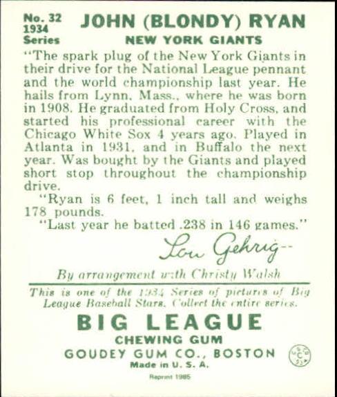 1934 Goudey '85 Reprints #32 Blondy Ryan back image