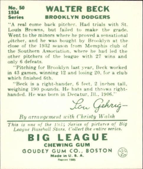 1934 Goudey '85 Reprints #50 Walter Beck back image