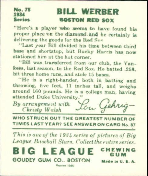 1934 Goudey '85 Reprints #75 Bill Werber back image