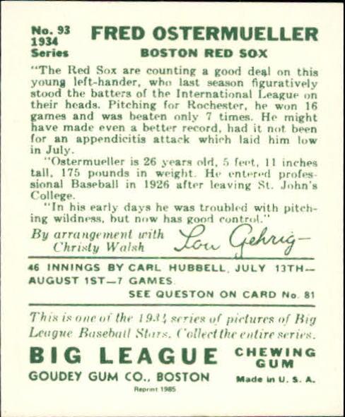 1934 Goudey '85 Reprints #93 Fred Ostermueller back image