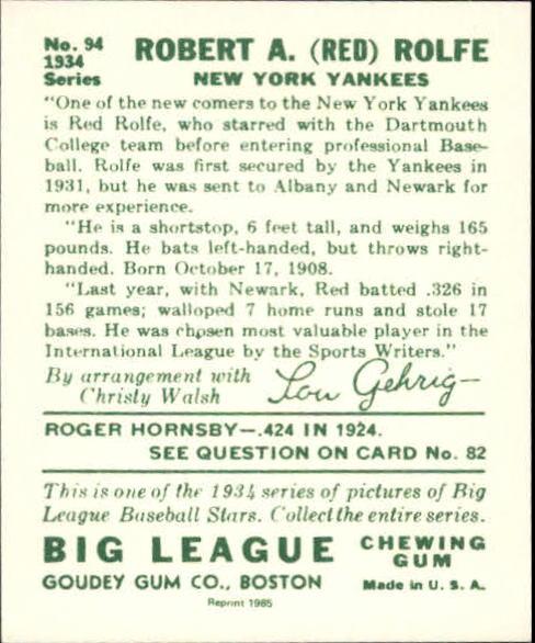 1934 Goudey '85 Reprints #94 Red Rolfe back image