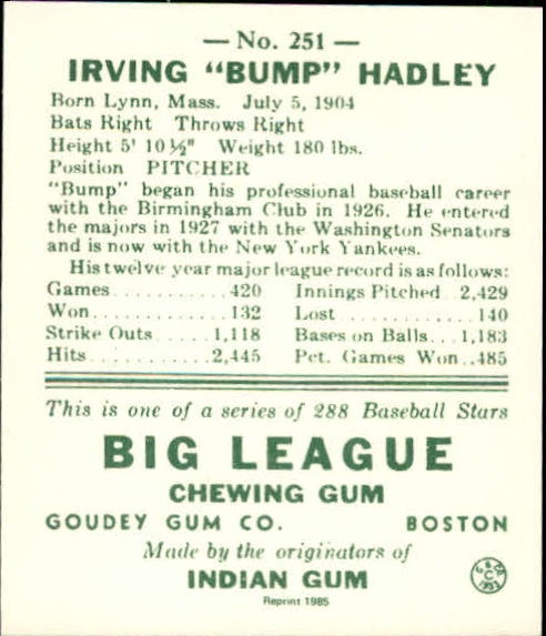 1938 Goudey Heads-Up '85 Reprints #251 Bump Hadley back image