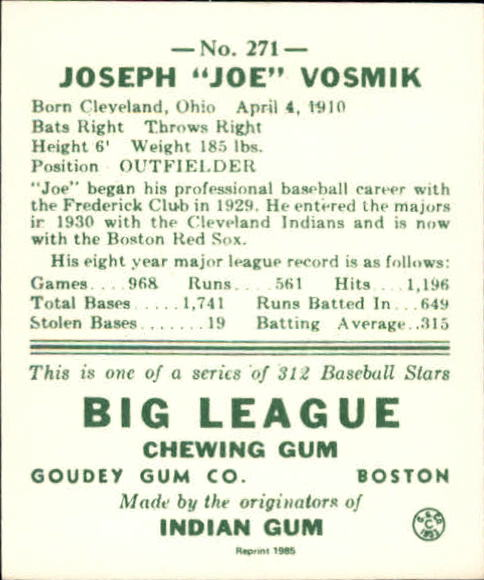 1938 Goudey Heads-Up '85 Reprints #271 Joe Vosmik back image