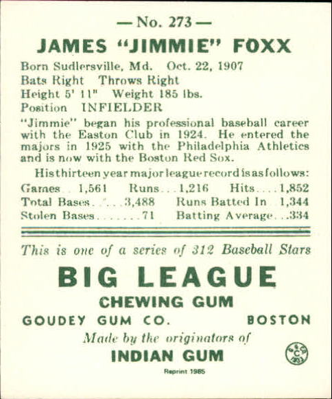 1938 Goudey Heads-Up '85 Reprints #273 Jimmie Foxx back image