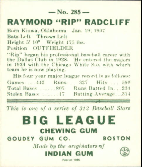 1938 Goudey Heads-Up '85 Reprints #285 Rip Radcliff back image