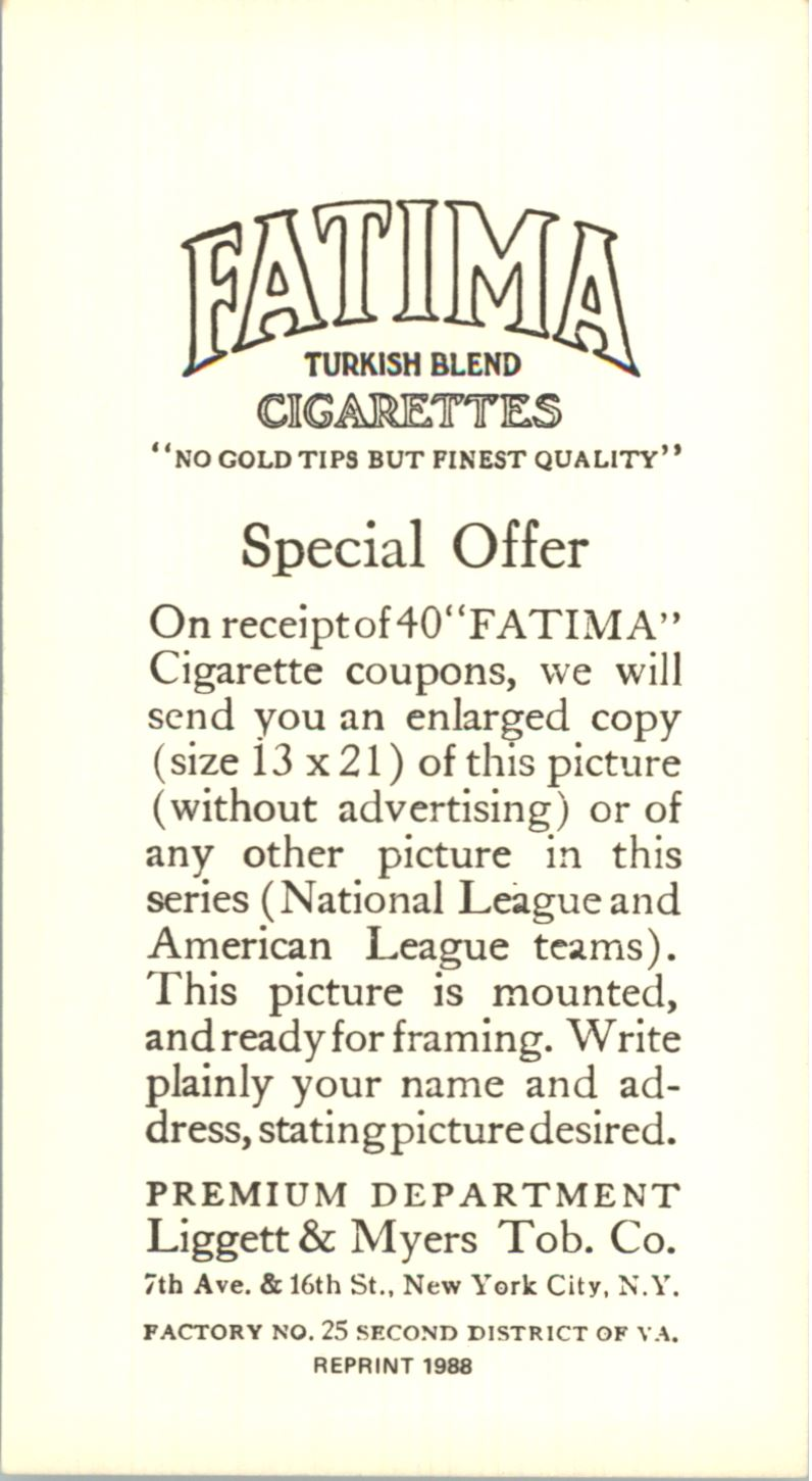 1913 Fatima Teams T200 '88 Reprints #5 New York Americans back image