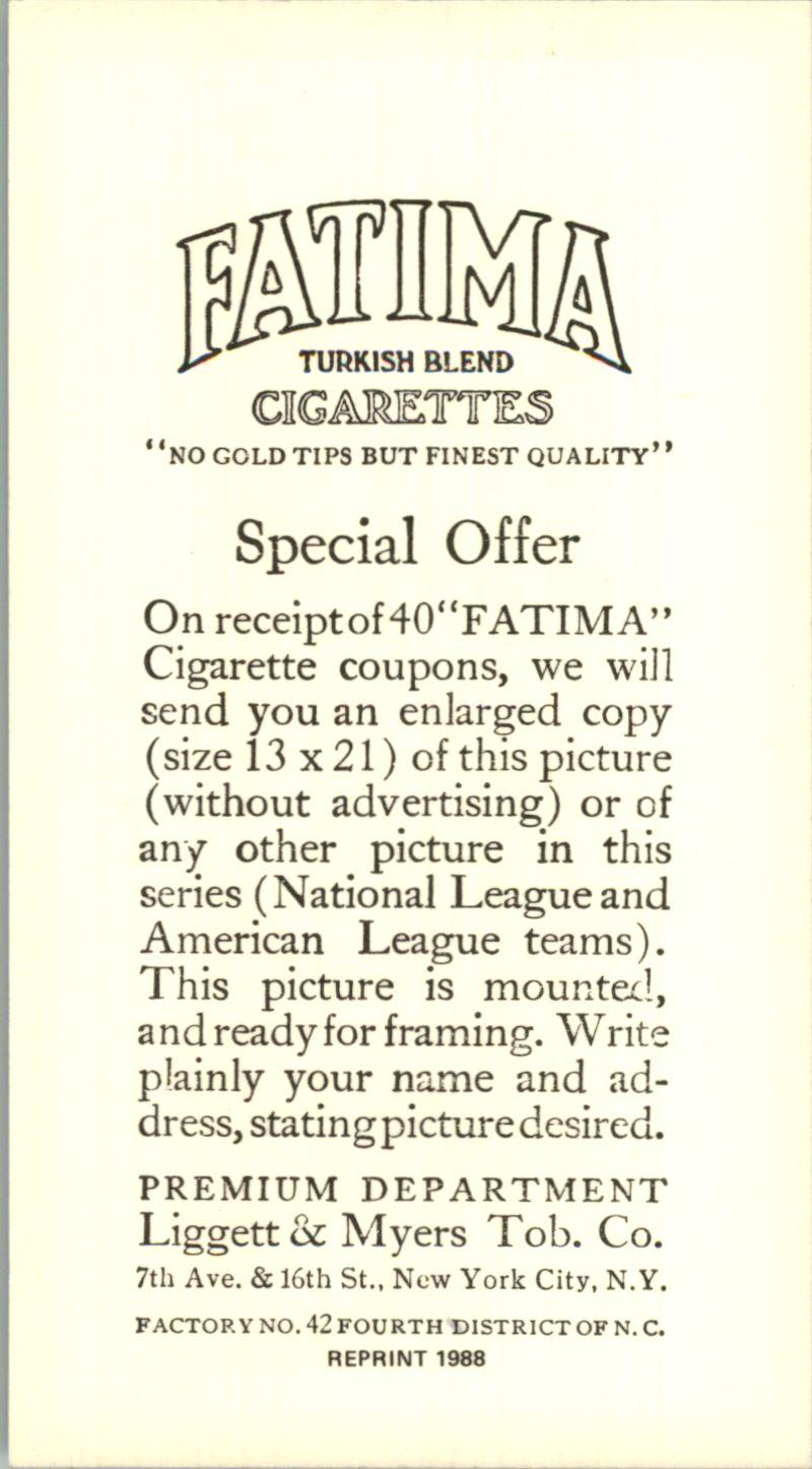 1913 Fatima Teams T200 '88 Reprints #13 New York Nationals back image