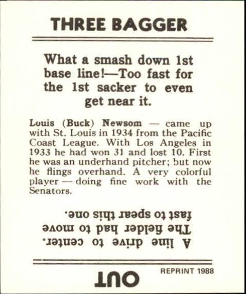 1936 Goudey Black and White '88 Reprints #22 Bobo Newsom back image