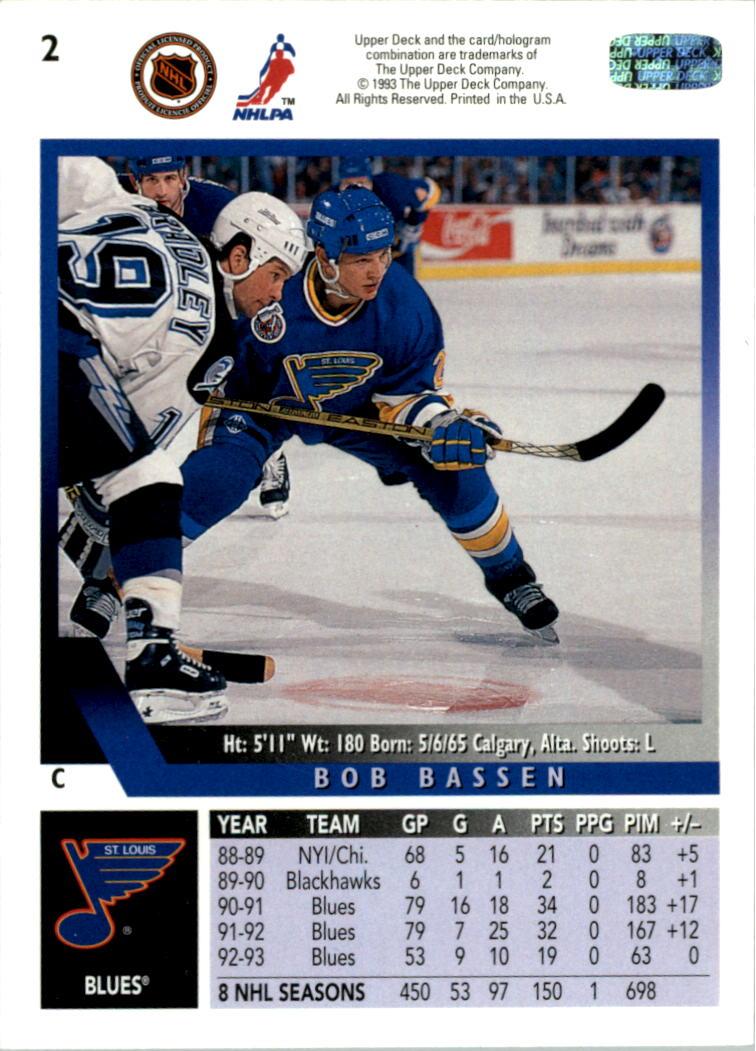1993-94 Upper Deck #2 Bob Bassen back image