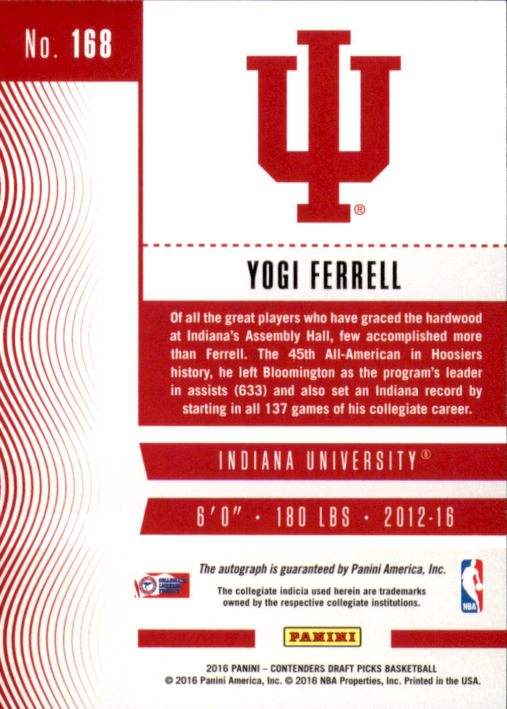2016-17 Panini Contenders Draft Picks Draft Blue Foil #168 Yogi Ferrell AU back image