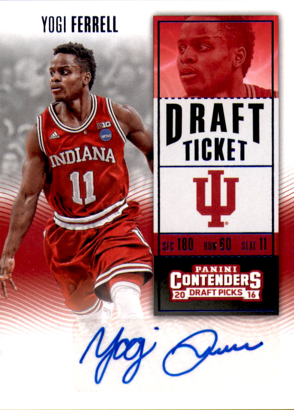 2016-17 Panini Contenders Draft Picks Draft Blue Foil #168 Yogi Ferrell AU