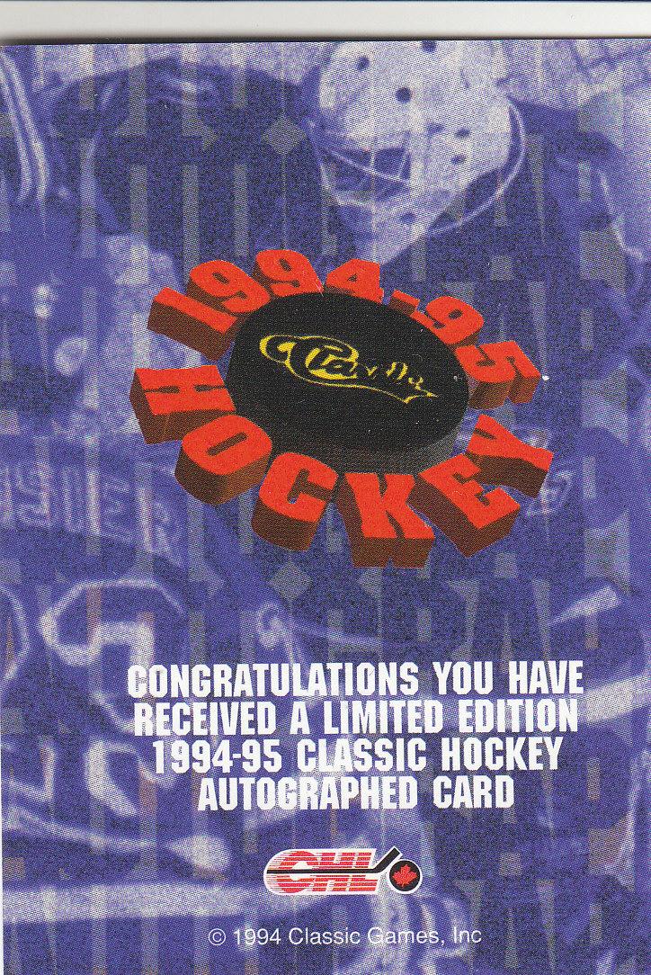 1994 Classic Autographs #10 Jeff Friesen/6145 back image
