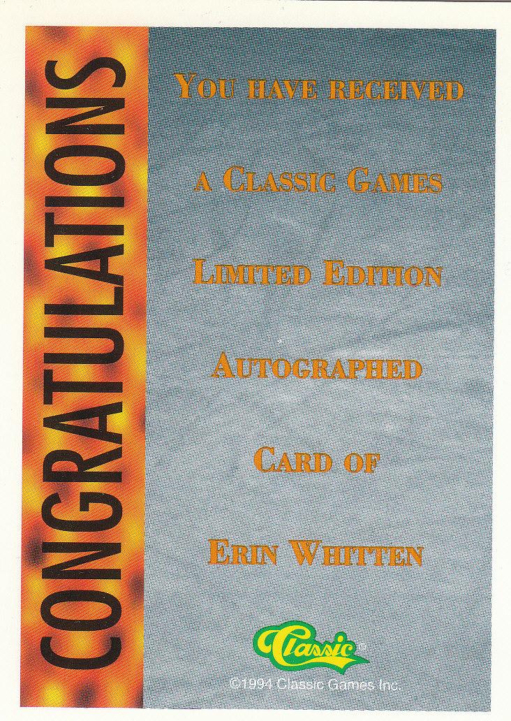 1994 Classic Pro Prospects Autographs #AU8 E.Whitten AU/1800 back image