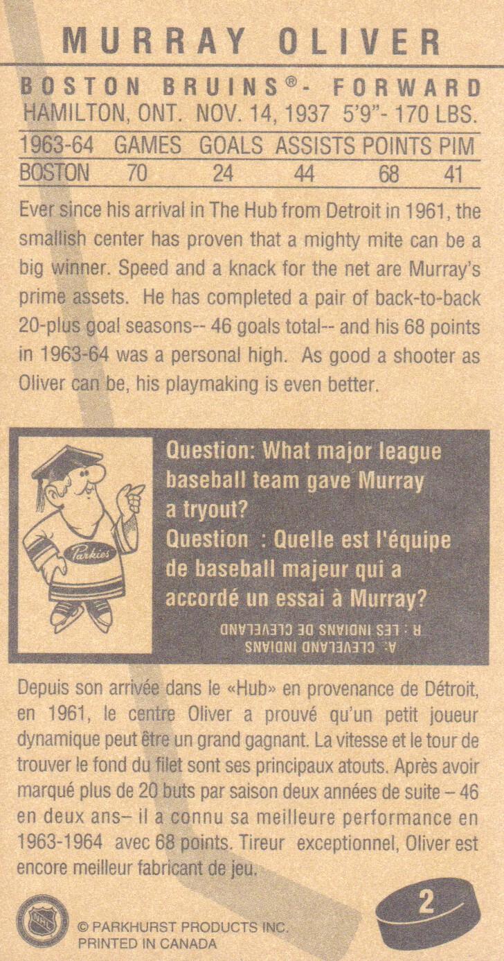 1994 Parkhurst Tall Boys #2 Murray Oliver back image