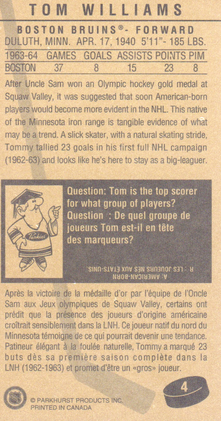1994 Parkhurst Tall Boys #4 Tom Williams back image