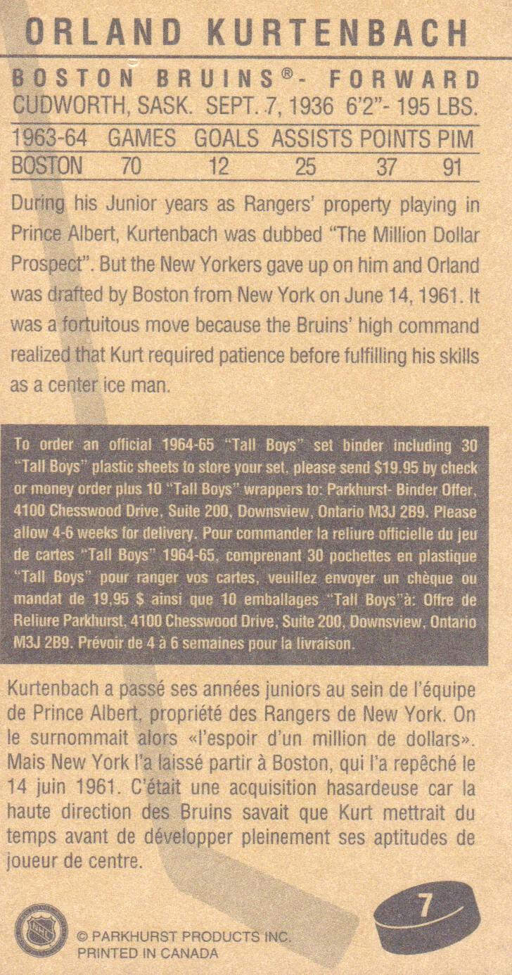 1994 Parkhurst Tall Boys #7 Orland Kurtenbach back image