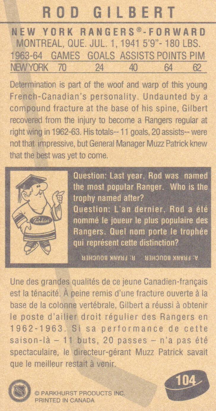 1994 Parkhurst Tall Boys #104 Rod Gilbert back image