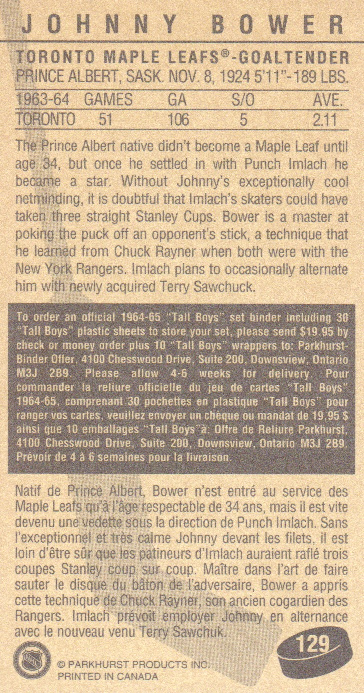 1994 Parkhurst Tall Boys #129 Johnny Bower back image