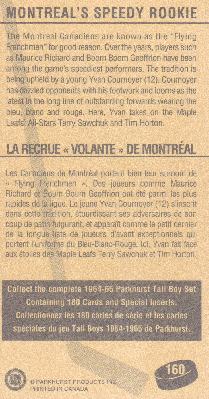 1994 Parkhurst Tall Boys #160 Montreal's Speedy/Rookie back image