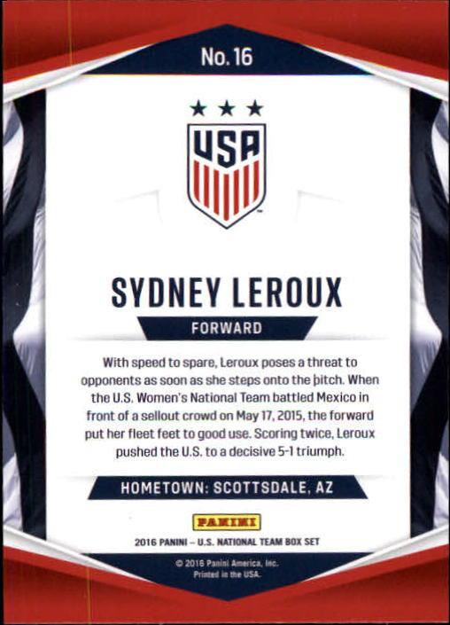 Soccer Pro 2016 Panini USA Soccer #16 Sydney Leroux NM-MT+