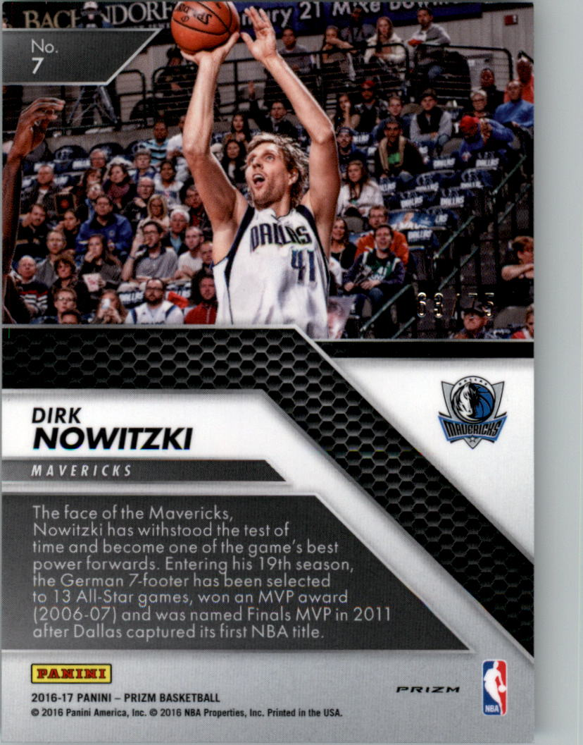 2016-17 Panini Prizm All Day Prizms Purple #7 Dirk Nowitzki back image