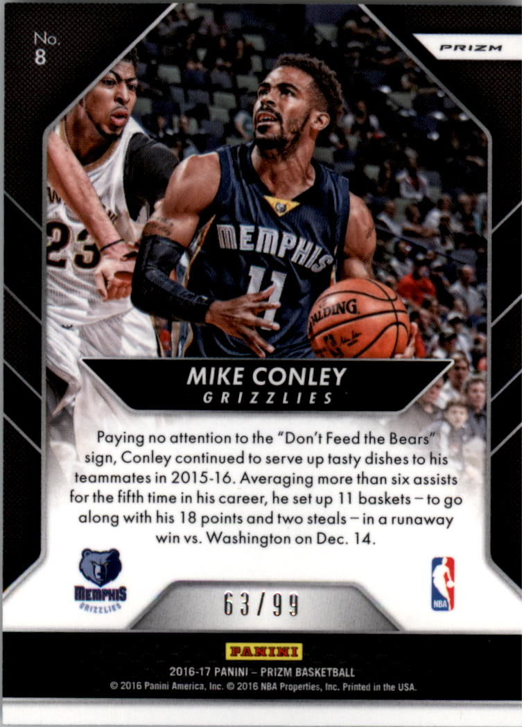 2016-17 Panini Prizm Go Hard or Go Home Prizms Blue Wave #8 Mike Conley back image