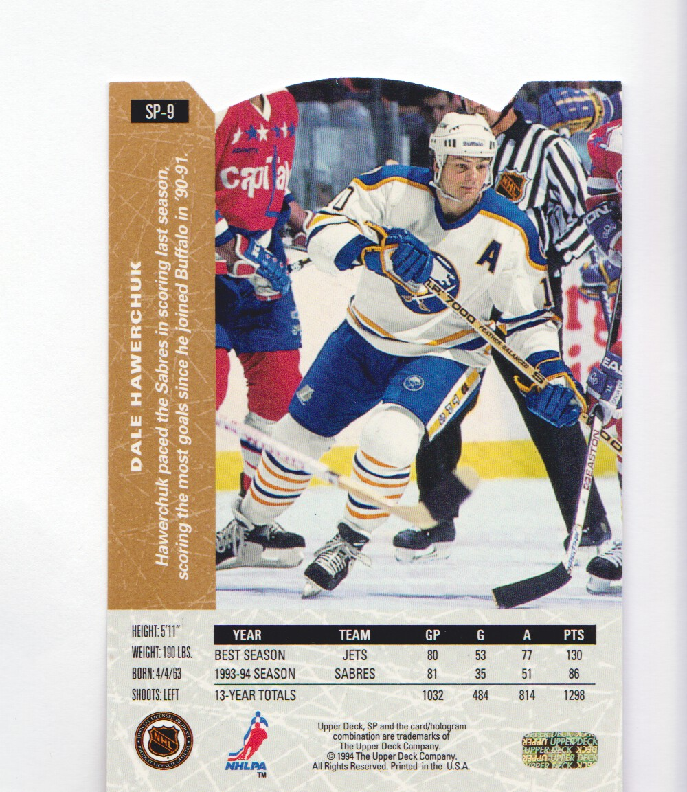 1994-95-Upper-Deck-SP-Inserts-Die-Cuts-Hockey-Cards-Pick-From-List miniature 9