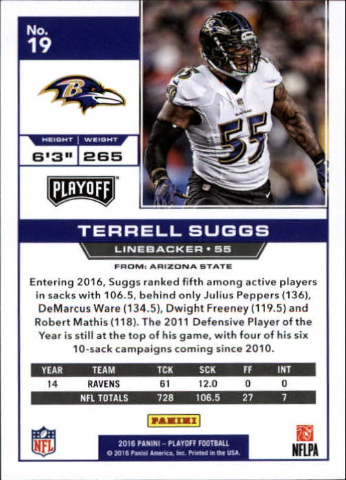 2016 Playoff #19 Terrell Suggs back image