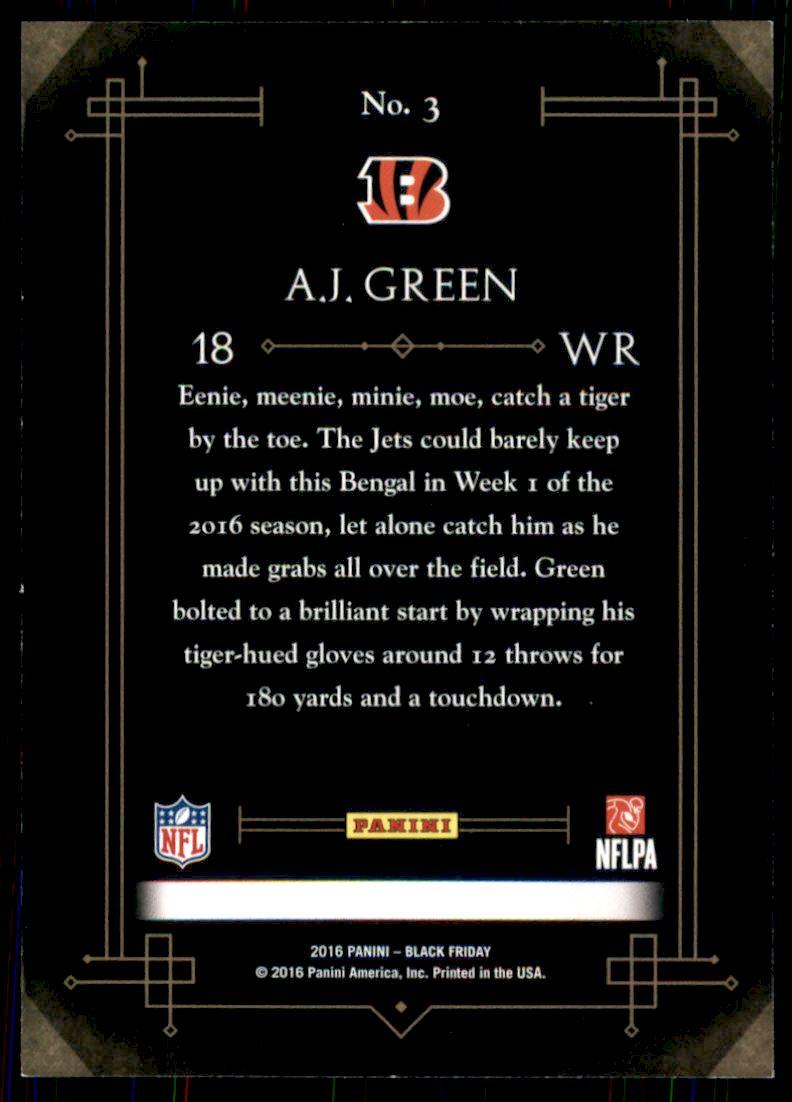 d8b19a65f 2016 Panini Black Friday Panini Collection  3 A.J. Green. Front. Back