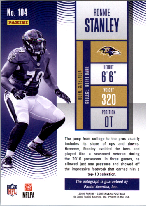 2016 Panini Contenders Playoff Ticket #104 Ronnie Stanley AU/199 back image