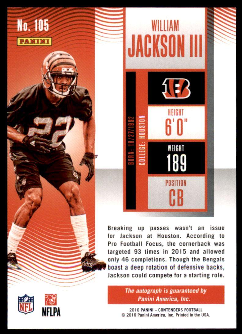 2016 Panini Contenders Playoff Ticket #105 William Jackson III AU/199 back image