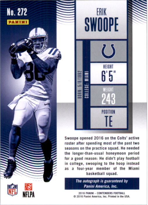 2016 Panini Contenders Playoff Ticket #272 Erik Swoope AU/99 back image