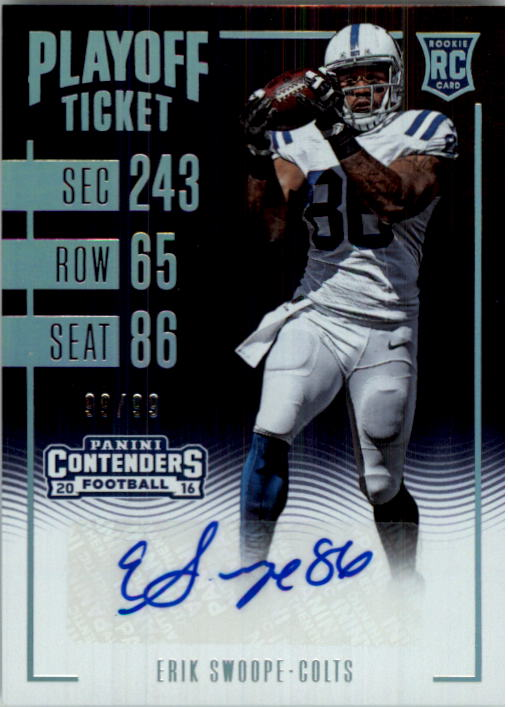 2016 Panini Contenders Playoff Ticket #272 Erik Swoope AU/99