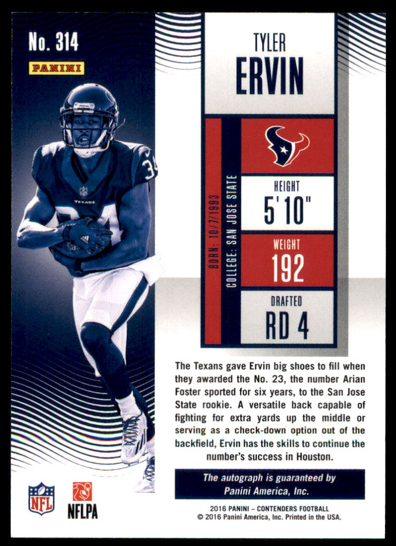 2016 Panini Contenders Playoff Ticket #314 Tyler Ervin AU/199 back image