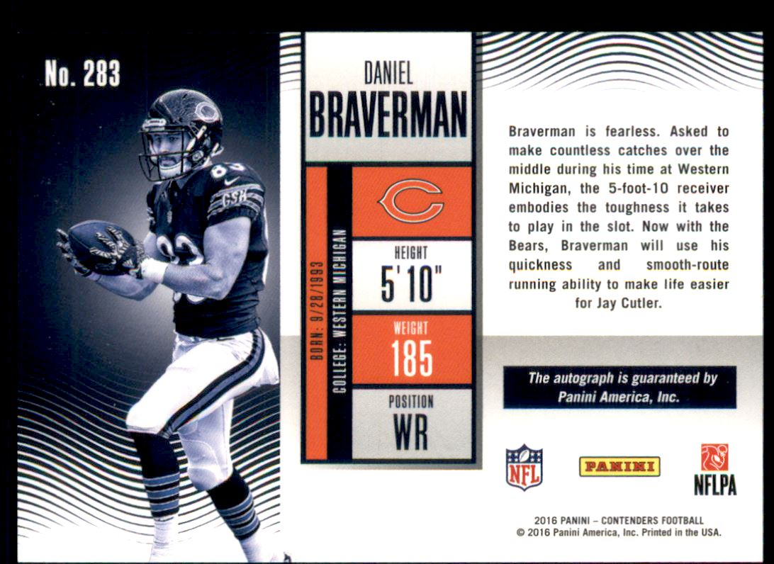 2016 Panini Contenders Playoff Ticket #283 Daniel Braverman AU/199 back image