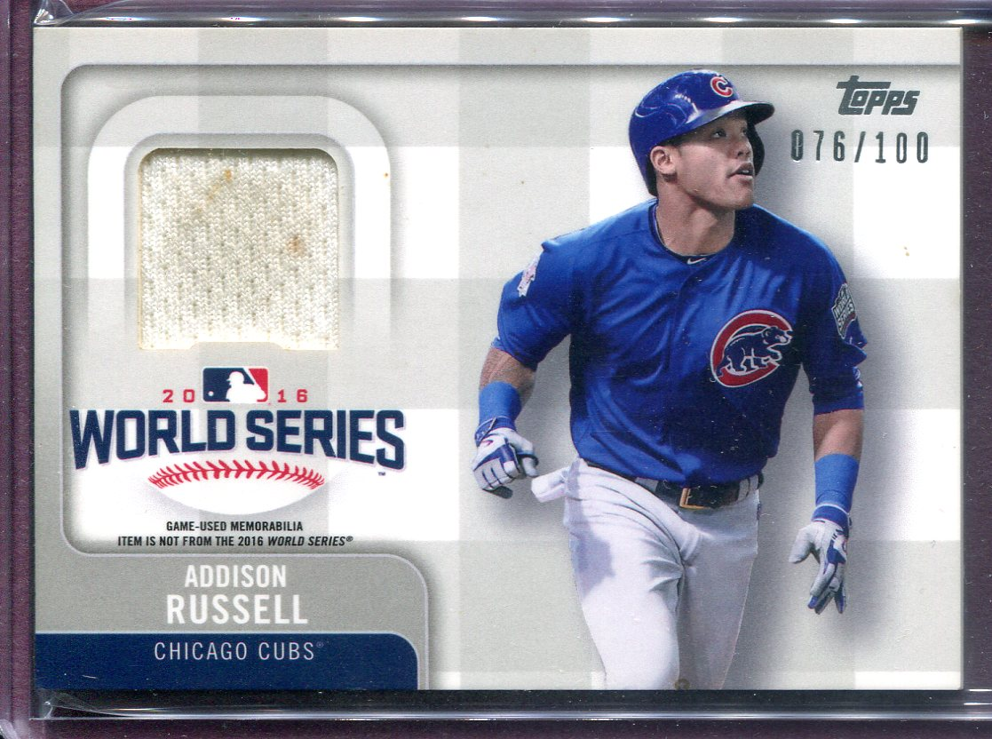san francisco 0eb6a ef48c Details about ADDISON RUSSELL ~ 2017 Topps World Series Champion #WCRARU  JERSEY (#76/100)