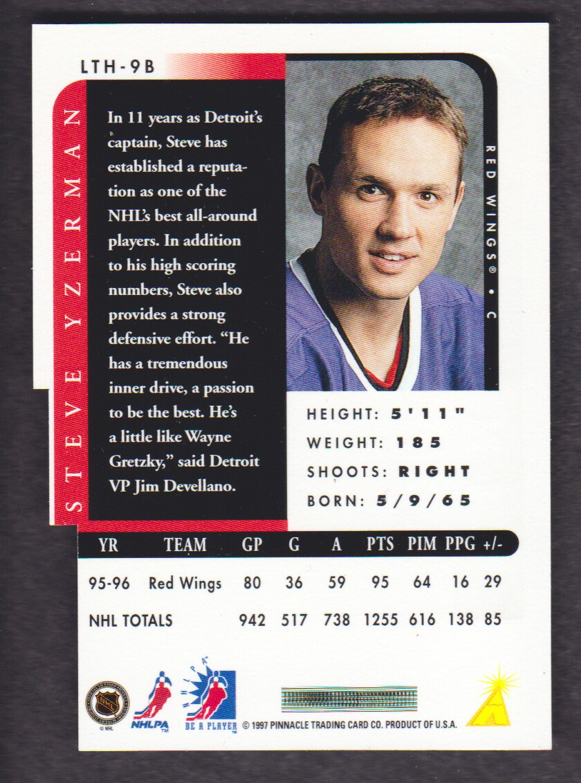 1996-97 Be A Player Link to History Autographs Silver #9B Steve Yzerman back image